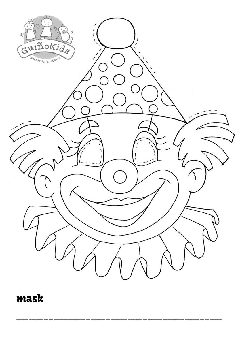 Ficha en inglés para niños con una máscara de Carnaval de payaso para colorear