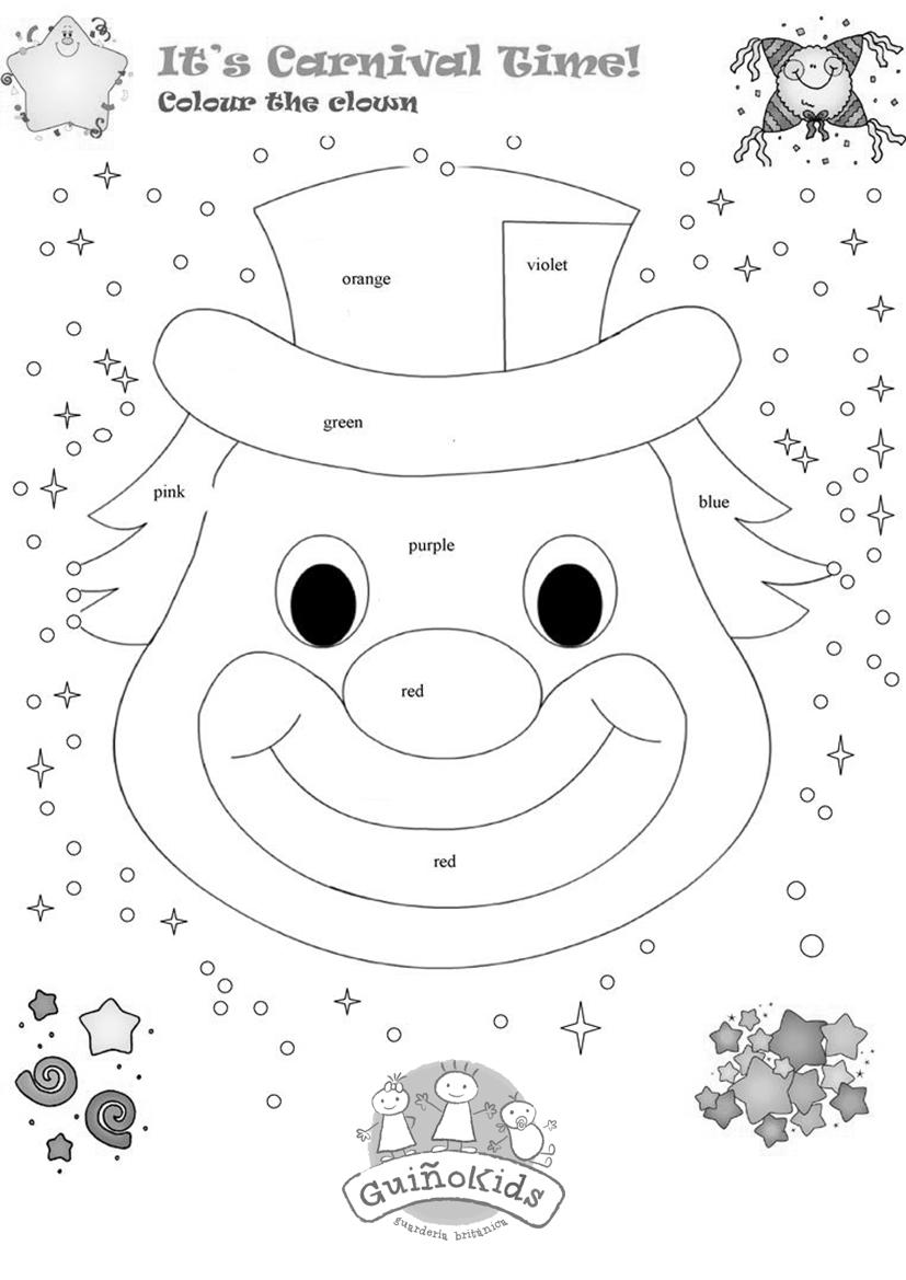 Ficha en inglés para niños con de un payaso de Carnaval para colorear