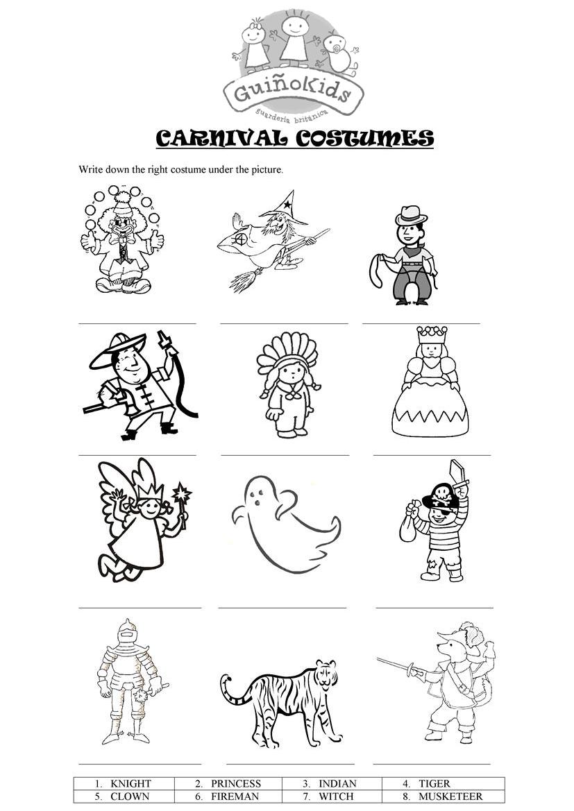 Ficha en inglés para niños con disfraces de Carnaval