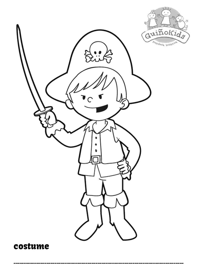 Ficha en inglés para niños con un niño disfrazado de pirata para colorear